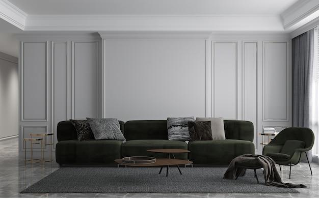 Interior moderno e decoração de design luxuoso de sala de estar e fundo de textura de parede branca vazia