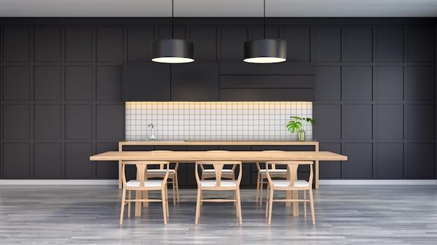 Interior moderno e loft da sala de jantar, cadeira de madeira com mesa de madeira na parede preta