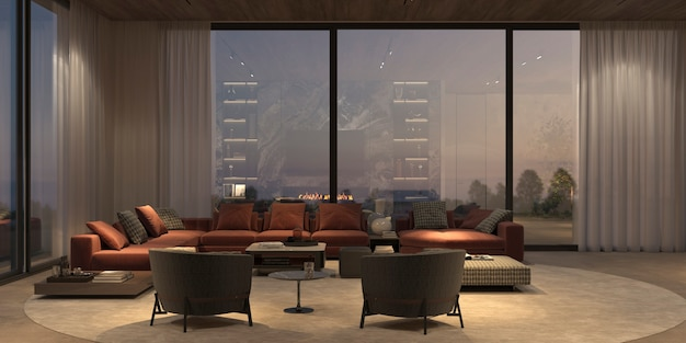 Interior moderno e luxuoso com janelas panorâmicas e vista da natureza, piso de pedra, parede branca e teto de madeira. apartamento com design minimalista para jantar e sala de estar com iluminação noturna. ilustração 3d render.