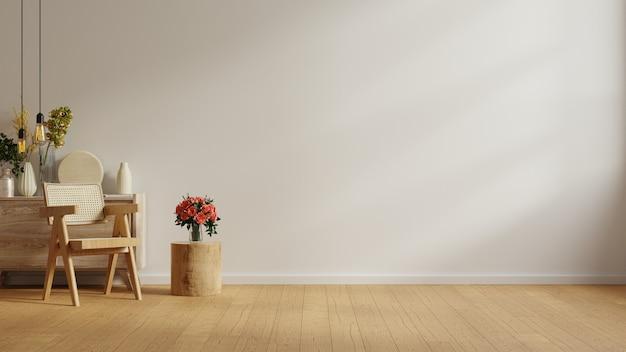 Interior moderno e minimalista com cadeira na parede branca vazia. renderização 3d