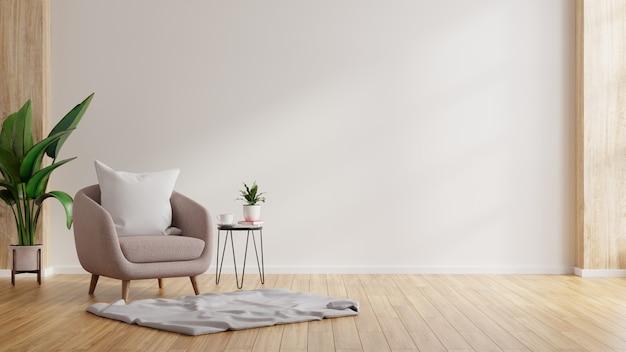 Interior moderno e minimalista com uma poltrona em uma parede branca vazia. renderização 3d