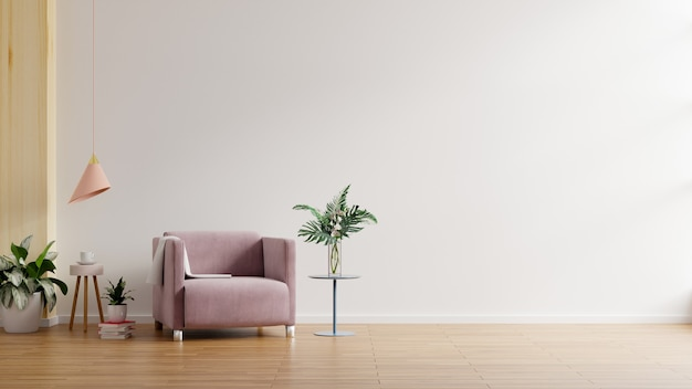 Interior moderno e minimalista com uma poltrona na parede branca vazia. renderização 3d