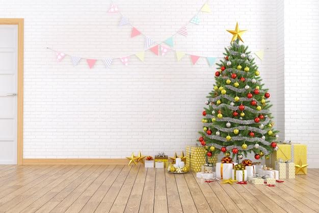 Interior moderno e minimalista da sala de estar, árvore de natal na parede de tijolo branco
