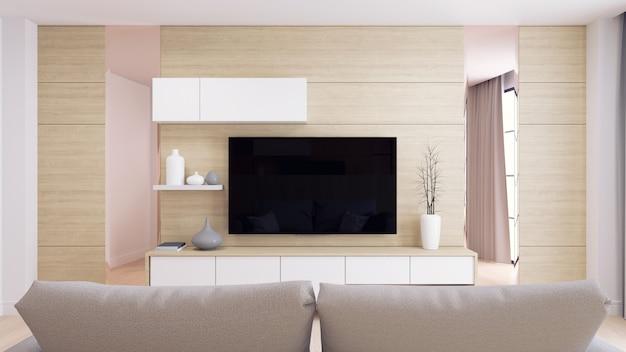 Interior moderno e minimalista da sala de estar