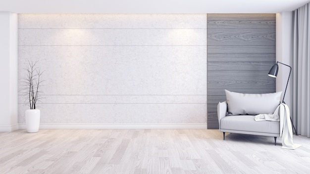 Interior moderno e minimalista da sala interior, poltrona cinza no piso de madeira e parede de concreto