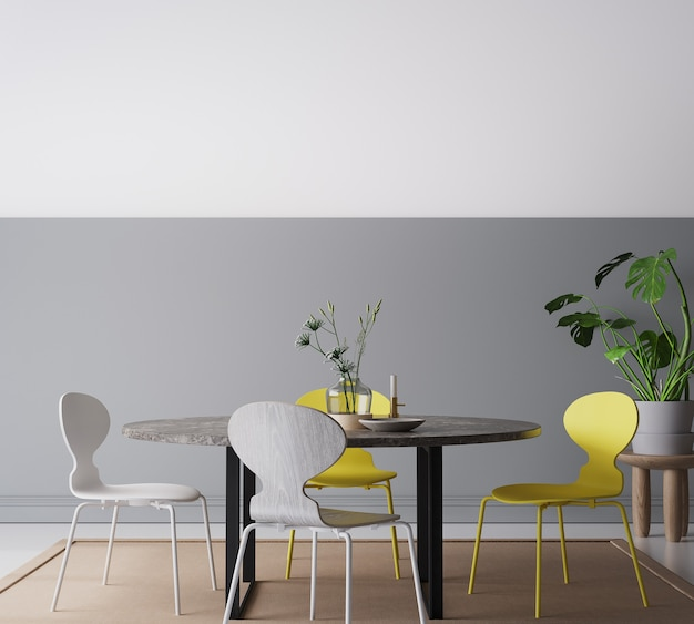 Interior moderno em cinza escuro, sala de jantar amarela e cinza