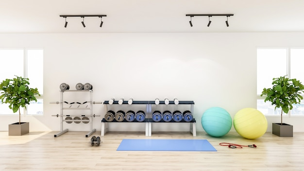 Interior moderno ginásio com equipamentos de esporte e fitness, fitness center inteiro, renderização em 3d