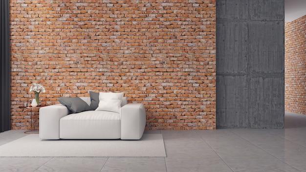 Interior moderno loft, branco sofa na parede de tijolos e piso de concreto