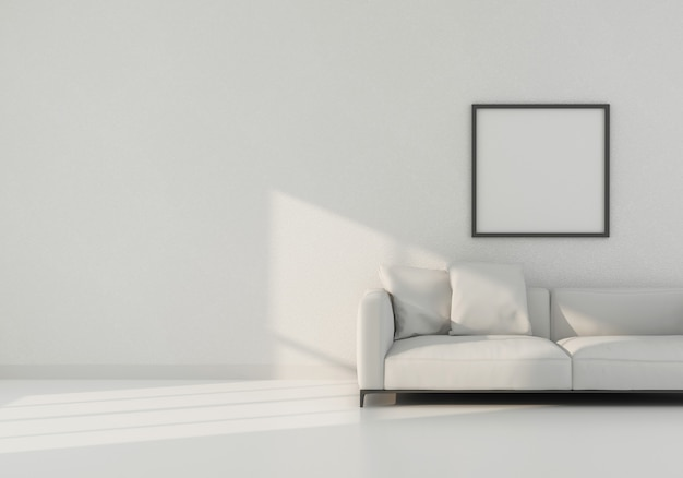 Interior moderno neutro realista com sofá e moldura na parede vazia