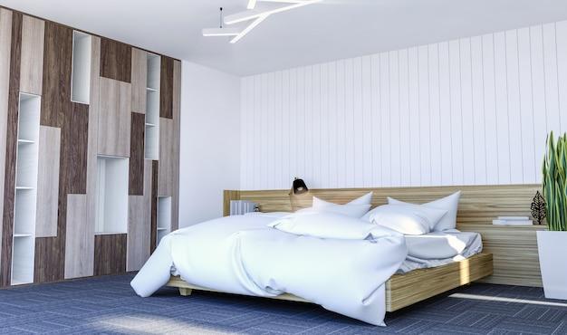 Interior moderno quarto contemporâneo branco com espaço de cópia na parede para mock up