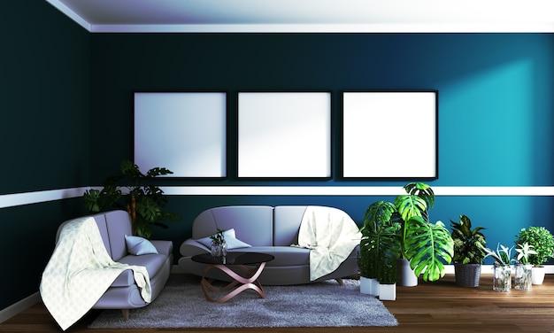 Interior moderno - sala de estar e sofá macio na parede escura, renderização em 3d