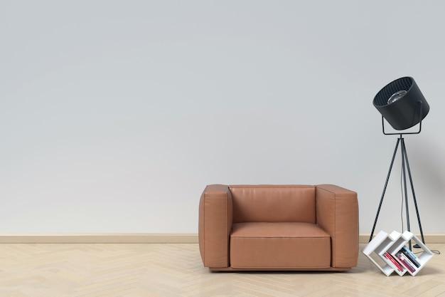 Interior neutro com couro de poltrona no fundo da parede branca vazia