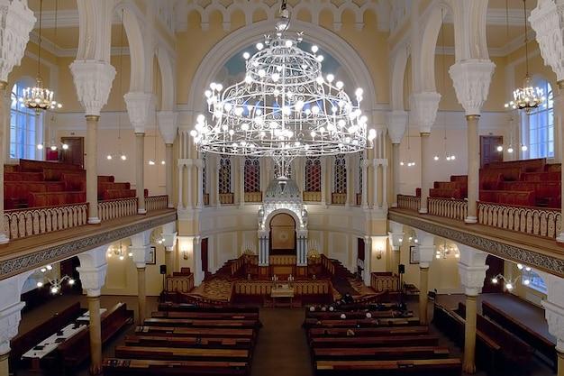 Interior petersburgo sinagoga rússia são lustre