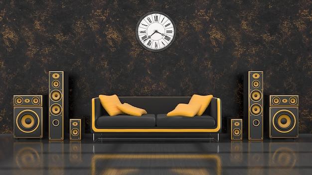Interior preto com design moderno sistema de alto-falantes preto e amarelo, sofá e relógio de parede, ilustração 3d