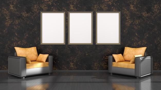 Interior preto com molduras pretas e amarelas e uma poltrona para maquete, ilustração 3d