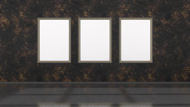 Interior preto com molduras pretas e amarelas para maquete, ilustração 3d