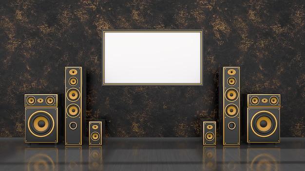 Interior preto com sistema de alto-falantes preto e amarelo de design moderno e moldura para maquete, ilustração 3d