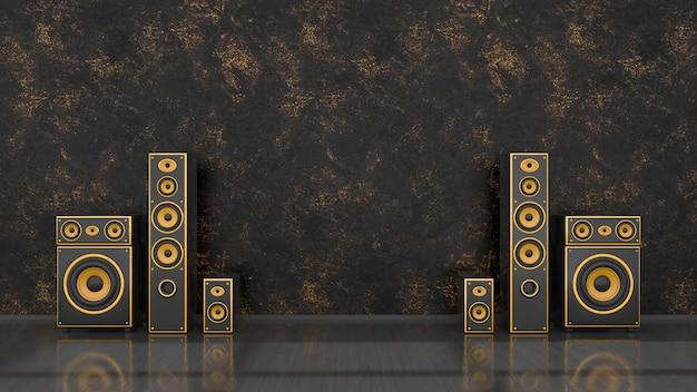 Interior preto com sistema de alto-falantes preto e amarelo de design moderno para maquete, ilustração 3d