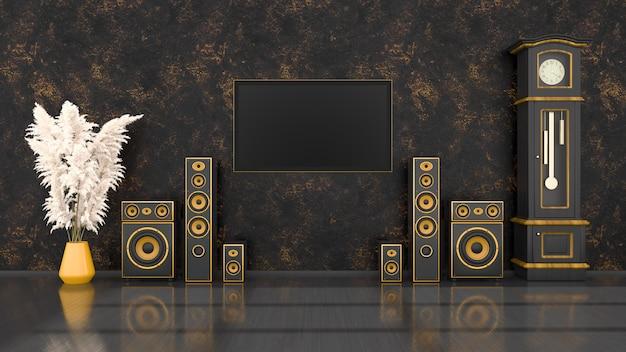 Interior preto com sistema de alto-falantes preto e amarelo de design moderno, relógio e tv antigos, ilustração 3d