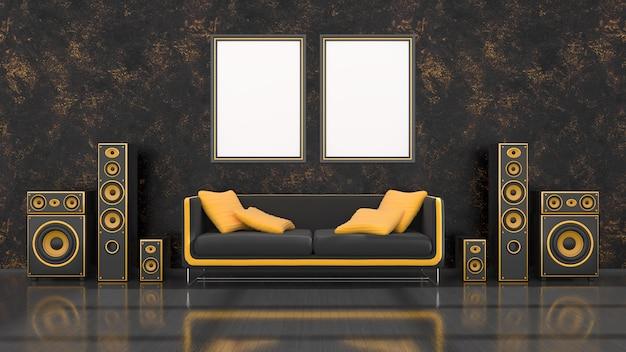 Interior preto com sistema de alto-falantes preto e amarelo de design moderno, sofá e moldura para maquete, ilustração 3d
