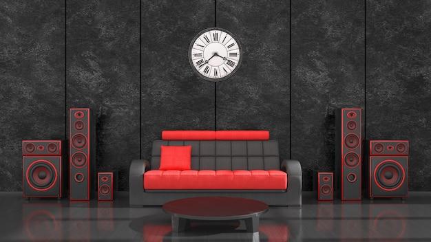 Interior preto com sistema de alto-falantes preto e vermelho de design moderno e relógio antigo, ilustração 3d