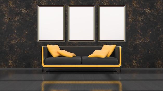 Interior preto com sofá moderno preto e amarelo e molduras para maquete, ilustração 3d