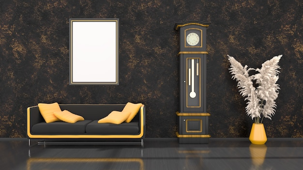 Interior preto com sofá moderno preto e amarelo, relógio e molduras para maquete, ilustração 3d