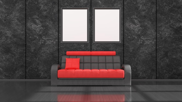 Interior preto com sofá moderno preto e vermelho e molduras para maquete, ilustração 3d