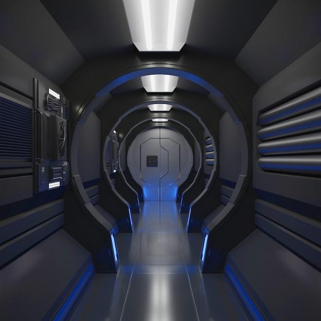 Interior preto de nave espacial