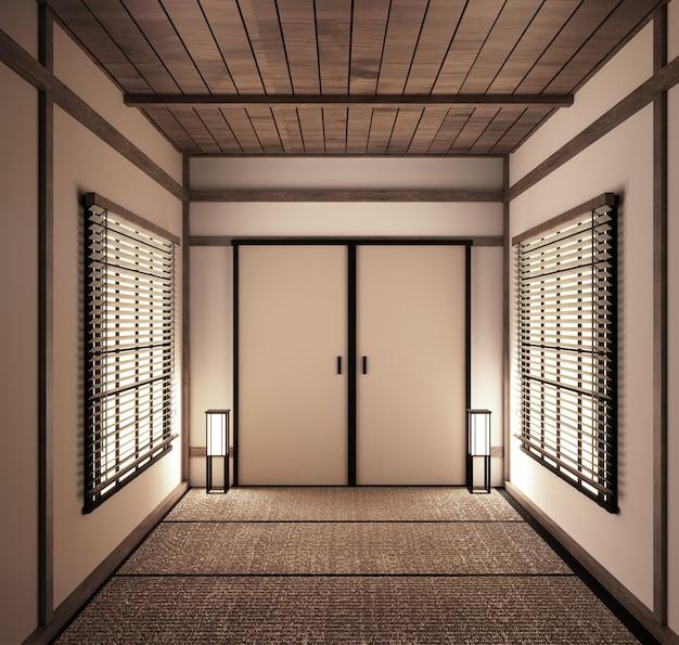 Interior quarto vazio japonês tatami mat projetando o mais bonito. renderização 3d