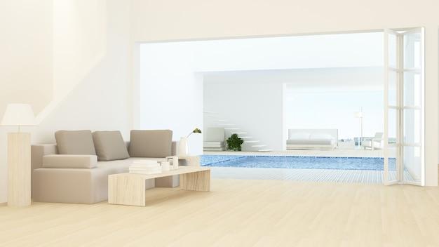 Interior relaxar espaço conectar piscina e renderização em 3d - fundo de vista de natureza