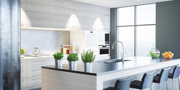 Interior residencial de cozinha moderna em mansão de luxo, renderização em 3d