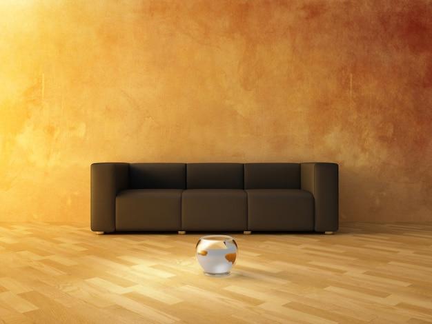 Interior sala de estar com mobília