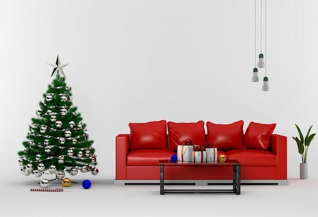 Interior sala de estar com o natal.