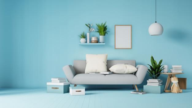 Interior sala de estar com sofá branco colorido e poltrona em renderização em 3d