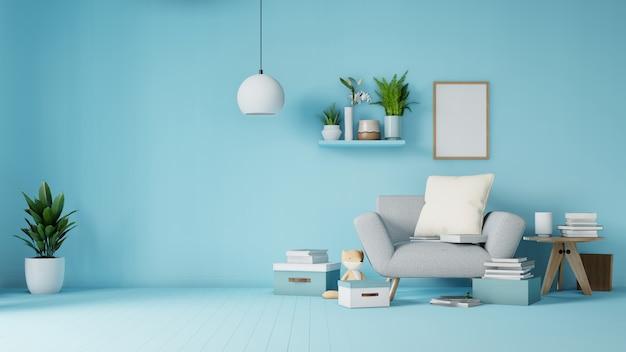 Interior sala de estar com sofá branco colorido e poltrona
