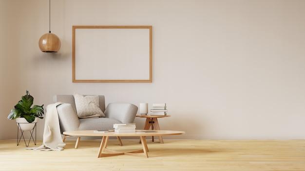 Interior sala de estar com sofá branco colorido