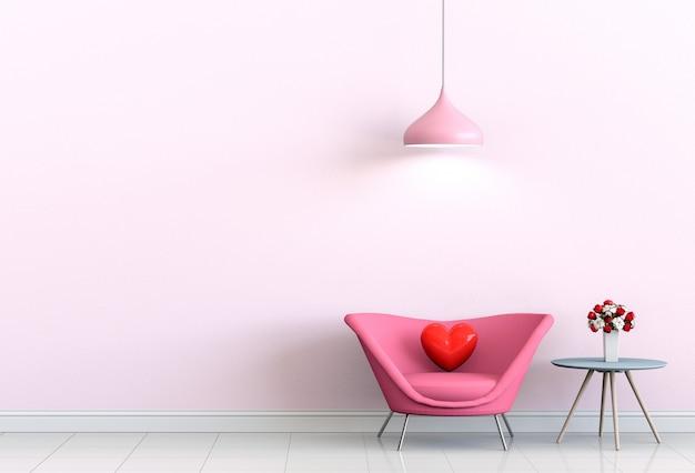 Interior sala de estar com sofá rosa e coração dia dos namorados