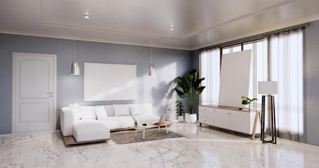 Interior, sala de estar minimalista moderna com sofá e armário, plantas, abajur na parede azul e piso de ladrilhos de granito. renderização 3d