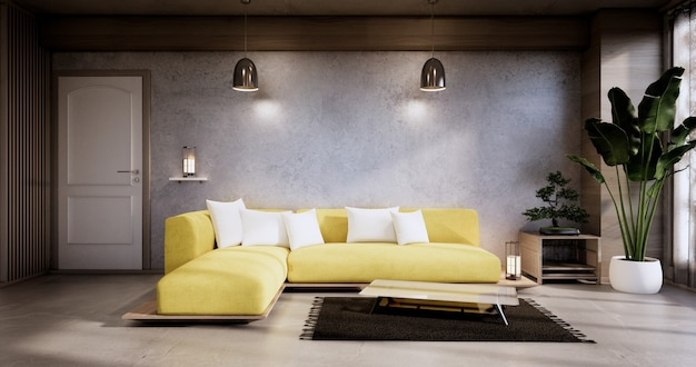 Interior, sala de estar minimalista moderna tem sofá amarelo na parede de concerto e piso de granito. renderização 3d