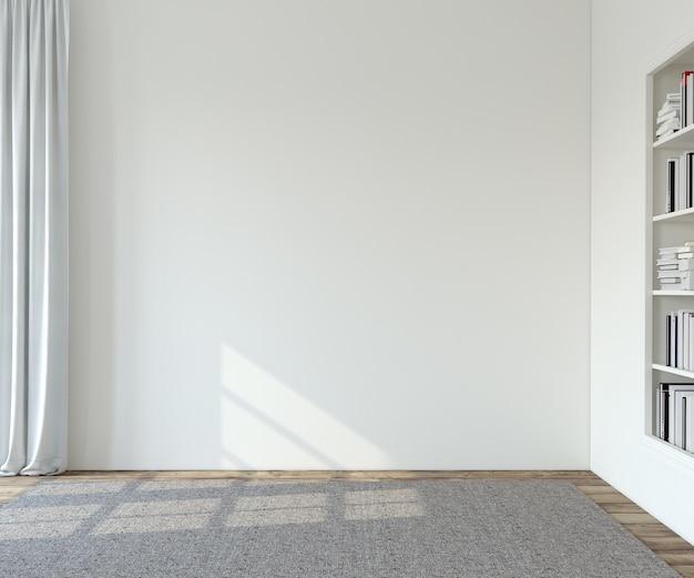 Interior. sala vazia com paredes brancas. renderização 3d.