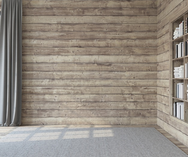 Interior. sala vazia com paredes de madeira. renderização 3d.
