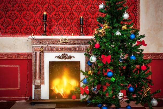 Interior sensacional de natal vintage com uma si de feliz natal