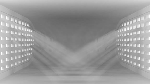 Interior vazio conceitual ultra moderno com raios de luz das janelas para seus objetos.