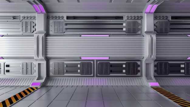 Interior vazio da sala de ficção científica futurista com espaço aberto, renderização em 3d