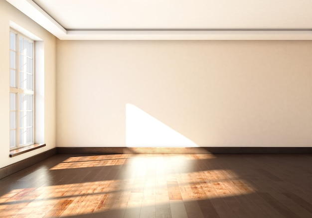 Interior vazio de maquete com grande janela de renderização em 3d.