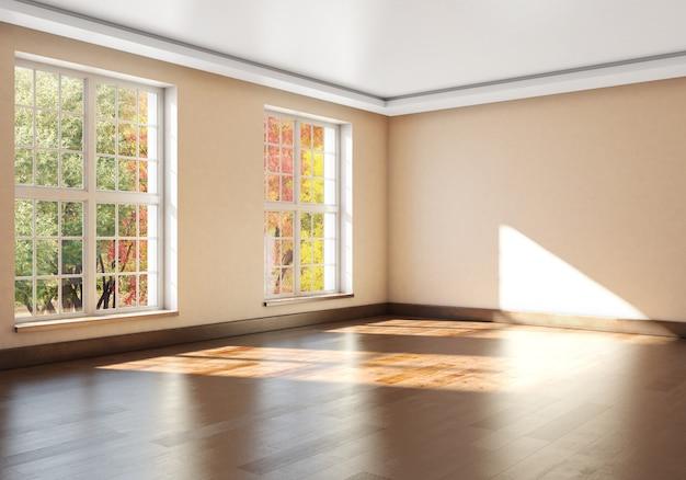 Interior vazio de maquete com grandes janelas