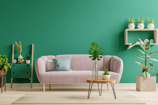 Interior verde em estilo moderno de sala de estar com sofá macio e parede verde, renderização em 3d