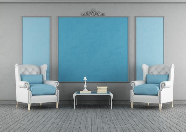 Interior vintage azul e cinza