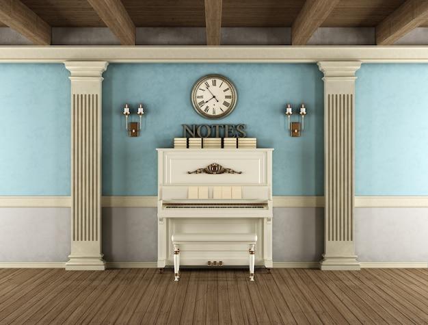 Interior vintage com piano vertical